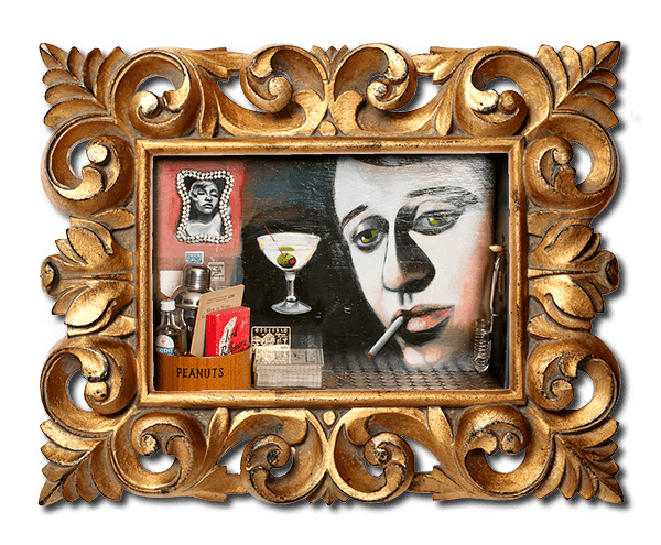 photo of framed mixed media painting from Your Bartender series by Christie Mellor