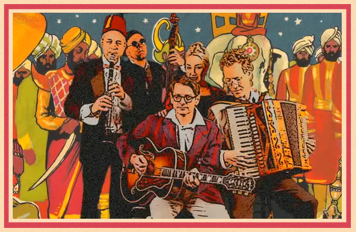 colorful illustrated of members of Doozy band grouped together playing clarinet, guitar, upright bass, accordion, and singing