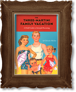 illustrated book Three-Martini Family Vacation encased in a picture frame