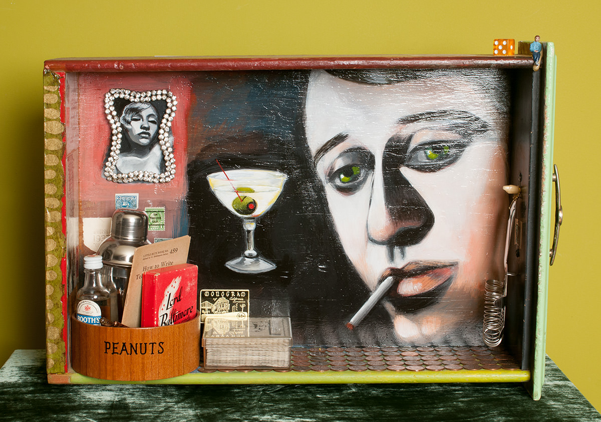 photo of Christie Mellor's Lord Baltimore painting and mixed media from her Your Bartender series