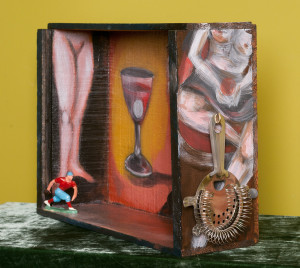 Photo of original painted mixed media work Your Bartender #14 by Christie Mellor