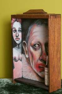 Photo of original painted mixed media work Your Bartender #15 by Christie Mellor