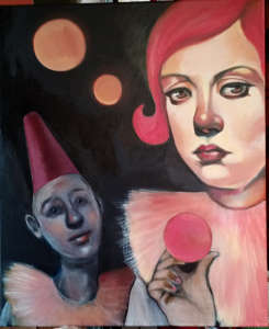oil painting of two women in pink fluffy dresses, one in tall fez, the other with pink hair - by Christie Mellor