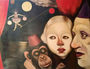 oil painting featuring a chimp in a fez beside a young girl and a man with ballet dancer acrobats in background - by Christie Mellor