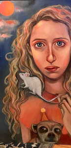 oil painting of young pensive lady with a pet mouse and a pet dog by christie mellor